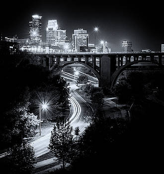 Minneapolis Skyline West River Parkway Black and White by Christopher Broste