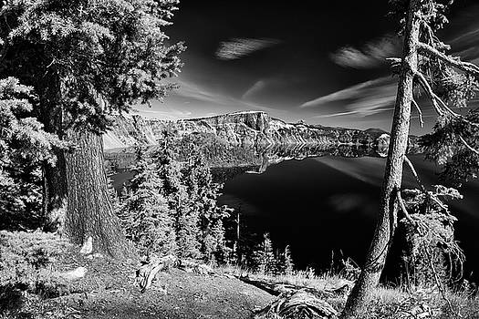 Mirror At Crater Lake B W by Frank Wilson