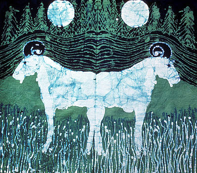Mirror Image Goats in Moonlight by Carol Law Conklin