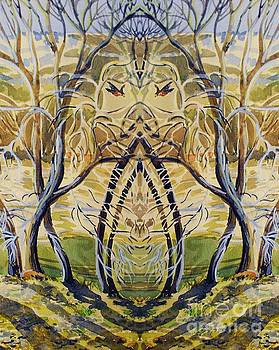 Mirror image of spring trees by Annie Gibbons