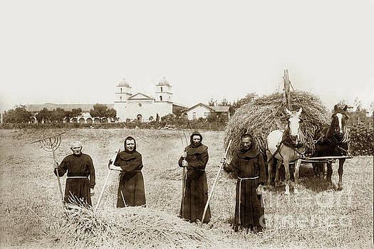 California Views Mr Pat Hathaway Archives - Mission Fathers raking hay in a field in front of Santa Barbra