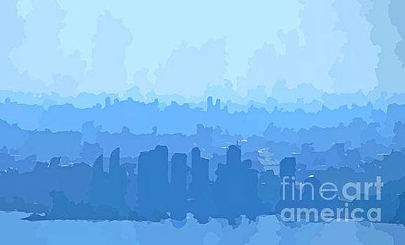 John Malone - Mississauga and Etobicoke Abstract Skyline in Blue