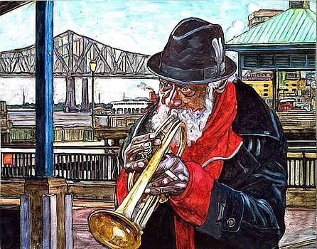 Mississippi River Trumpet Player by John Boles