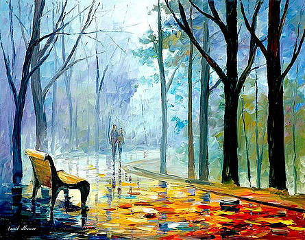 Misty Alley - PALETTE KNIFE Oil Painting On Canvas By Leonid Afremov by Leonid Afremov
