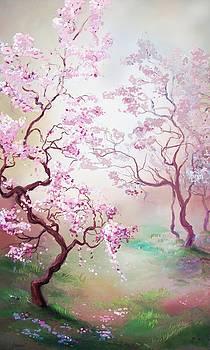 Misty Cherry Blossoms by Cassandra Gallant