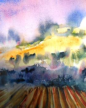 Misty Dawn over Ploughed Field  by Trudi Doyle