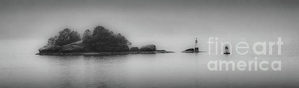 Misty Island bw by Jerry Fornarotto