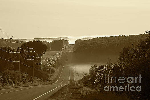 Misty Morning Drive by Elaine Mikkelstrup