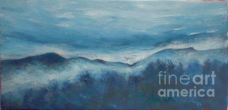 Felipe Adan Lerma - Misty Morning Fog Mount Mansfield Panorama Painting
