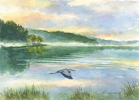 Misty Morning with Blue Heron by Kerry Kupferschmidt