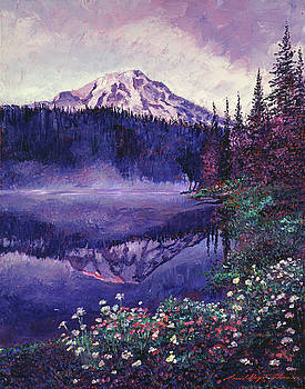 Misty Mountain Lake by David Lloyd Glover