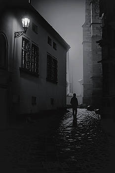 Misty Night at Cathedral. Black and White by Jenny Rainbow