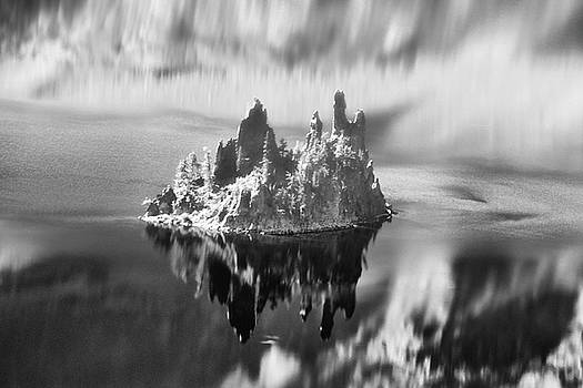 Misty Phantom Ship Island Crater Lake B W  by Frank Wilson