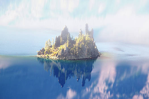 Misty Phantom Ship Island Crater Lake by Frank Wilson