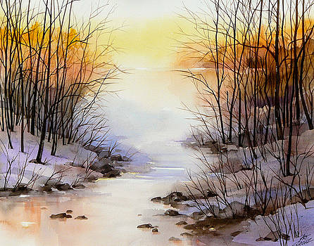 Misty Winter Stream by Art Scholz