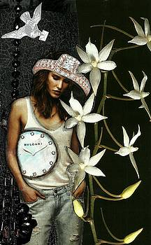 Mixed Media Collage Lost In Thought by Lisa Noneman