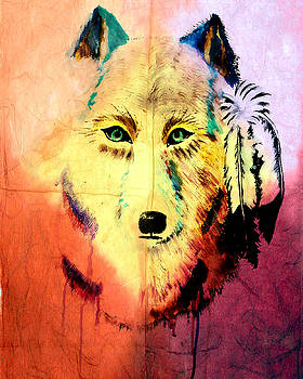 Mixed Media Painting of Spirit of the Wolf 2 by Ayasha Loya by Ayasha Loya
