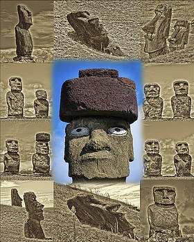 Moai Collage by Helen Worley