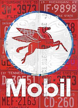 Design Turnpike - Mobil Oil Gas Station Vintage Sign Recycled License Plate Art