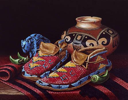 Moccasin Still Life by Linda Cruz Art