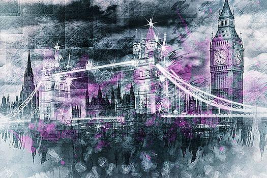 Modern-Art LONDON Tower Bridge and Big Ben Composing  by Melanie Viola
