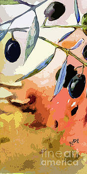 Ginette Callaway - Modern Decor Art Olive Branches Tall 1