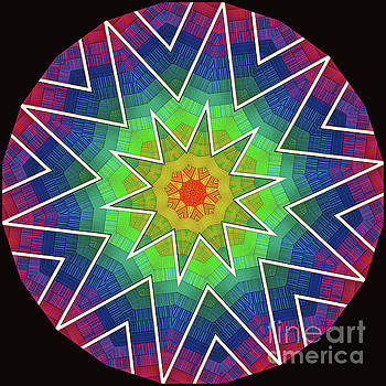 Modern Rainbow Colored Kaleidoscope 6 by Amy Cicconi