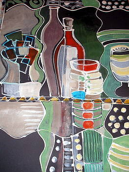 Modern Still Life With Wine by Therese AbouNader