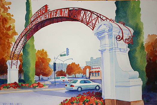 Modesto Arch in October by Virginia White