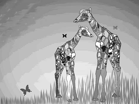 Joyce Dickens - Mom And Baby Giraffe Unconditional Love B and W