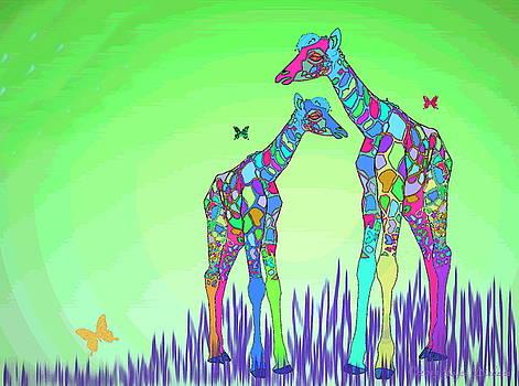 Joyce Dickens - Mom And Baby Giraffe Unconditional Love Five
