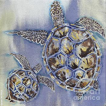 Mom And Baby Turtle by Paola Correa de Albury