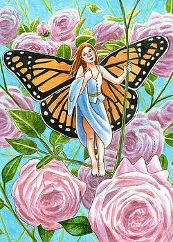 Monach Fairy amongst the Roses by Rachel Armington