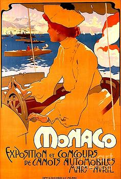 Peter Gumaer Ogden - Monaco Speed Boat Exposition Art Nouveau Poster 1900 Adolpho Hohenstein