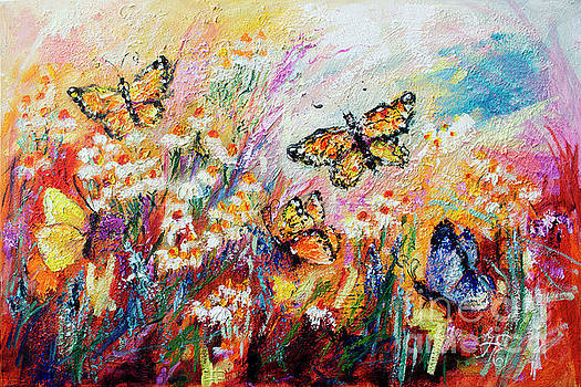 Ginette Callaway - Monarch Butterflies and Chamomile Flowers