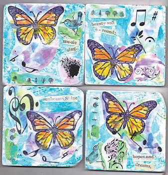 Monarch Butterflies And Music  Coasters by Genevieve Esson