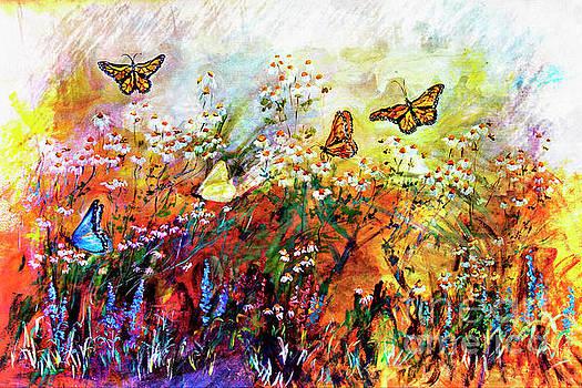 Monarch Butterflies in Garden by Ginette Callaway