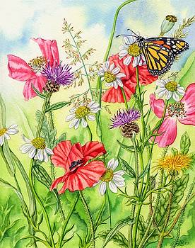 Monarch Butterfly and Wild Flowers by Lynne Henderson