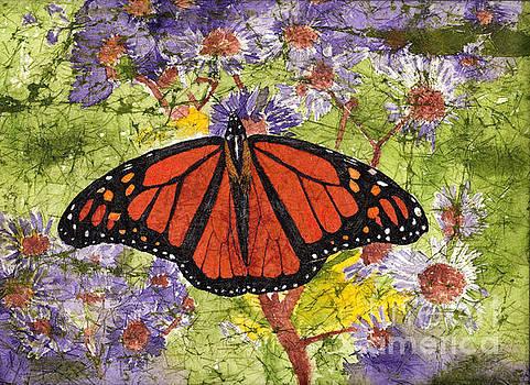 Monarch Butterfly on Purple Flowers Watercolor Batik by Conni Schaftenaar