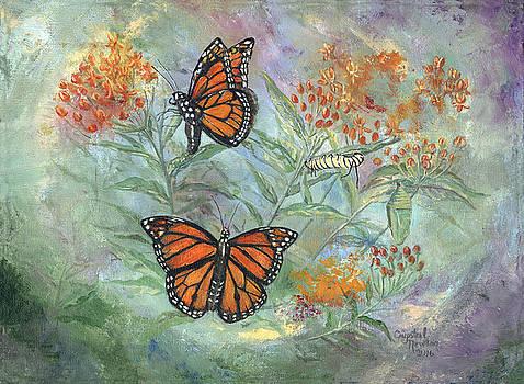 Monarchs in Evelyns Garden by Crystal Newton