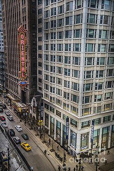 Monday afternoon on State Street in Chicago Illinois. Elevated view State and Randolph. by Linda Matlow