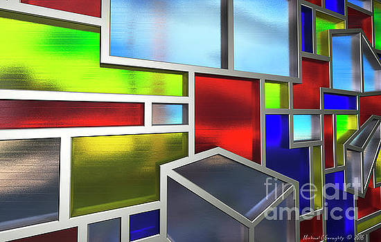 Mondrian Influenced Stained Glass No2 Macro1 AMCG-20160709 by Michael Geraghty