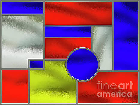 Mondrian Influenced Stained Glass Panel No1 - AMCG20160722 by Michael Geraghty