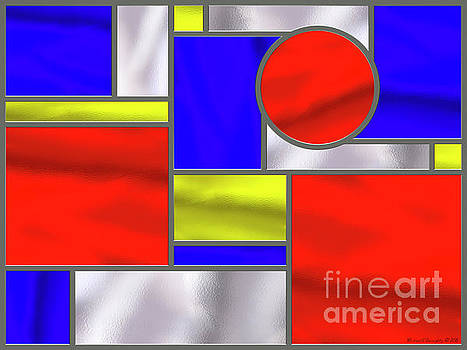 Mondrian Influenced Stained Glass Panel No3 - AMCG20160722 by Michael Geraghty