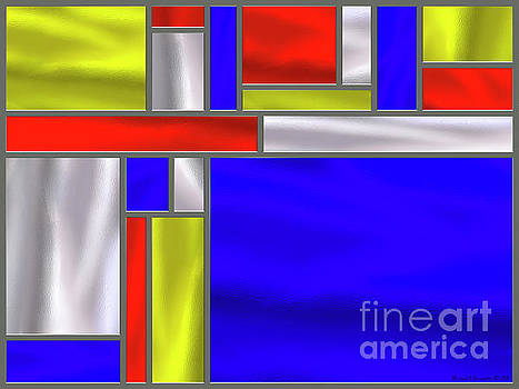Mondrian Influenced Stained Glass panel No5 - AMCG20160729 by Michael Geraghty
