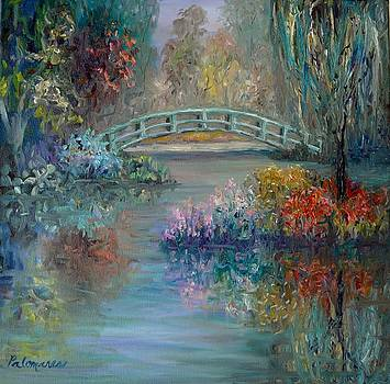 Monet Style Flower Garden with Bridge and Weeping Willow by Amber Palomares