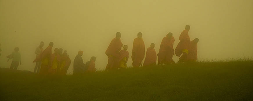 Monks in the mist by Leo Bello