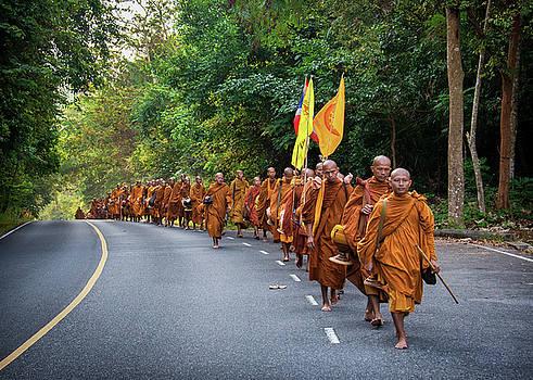 Monks trekking across Thailand by Lee Craker