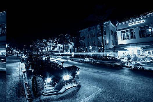 Toby McGuire - Monochrome Blue Nights Ocean Ave at Night Miami Florida Art Deco