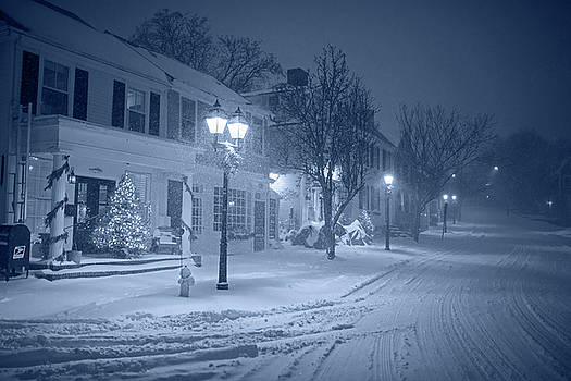 Toby McGuire - Monochrome Blue Old Town Marblehead Snowstorm Looking up at Abbot Hall Christmas Trees
